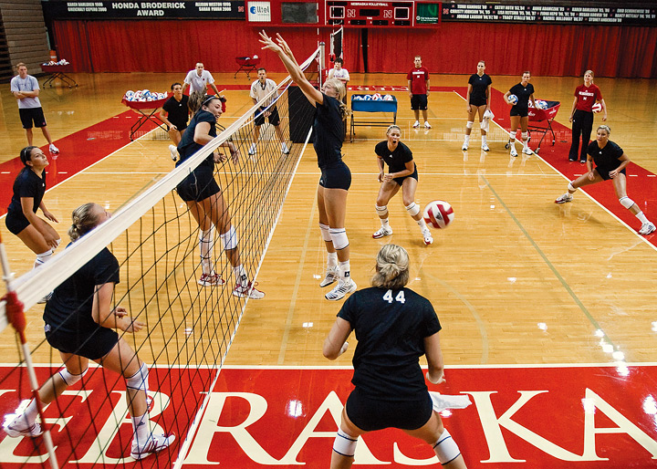 With three national championships, and four Olympic athletes,  Nebraska volleyball's storied program is hard to match.  Nebraska has hosted the four largest volleyball crowds ever, including the record crowd in Omaha of 17,430 fans for an NCAA semifinal match in 2008 between UNL and Penn State.  This Big  Red Machine has also advanced to 11 Final Four appearances, and it has the most players selected to All-American honors with 66 first- and second-team selections.